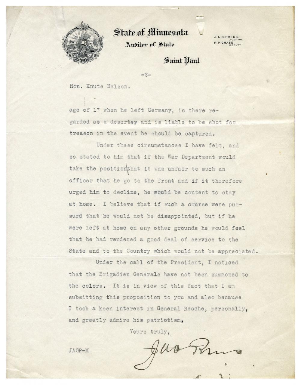Letter to Senator Nelson