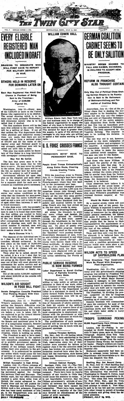 """Every Eligible Registered Man Included in Draft"" and ""German Coalition Cabinet Seems to be Only Solution"" - The Twin City Star. July 14, 1917"