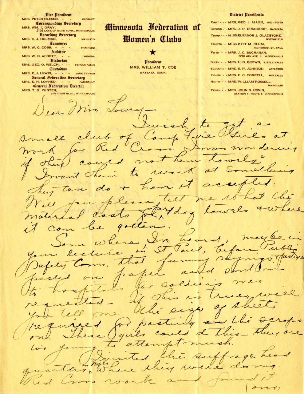 Front of letter