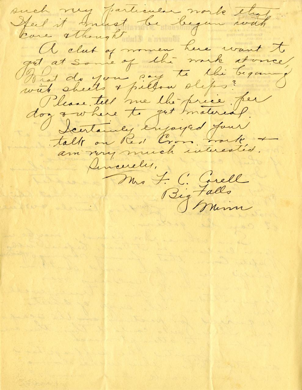Back of letter