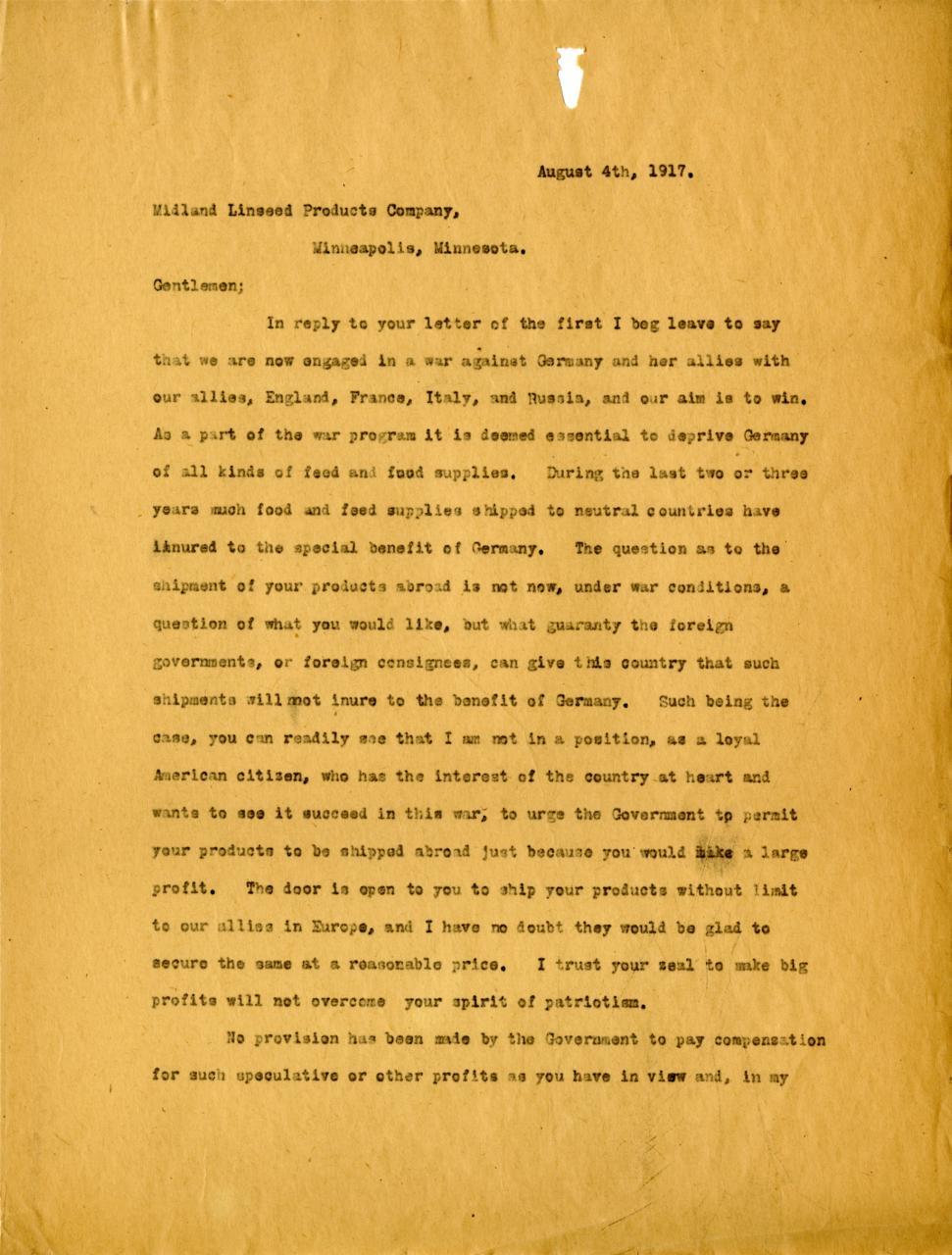 Letter regarding trade