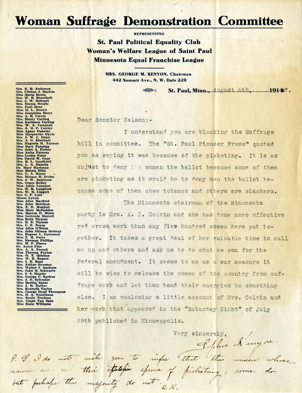 Suffrage letter page 1