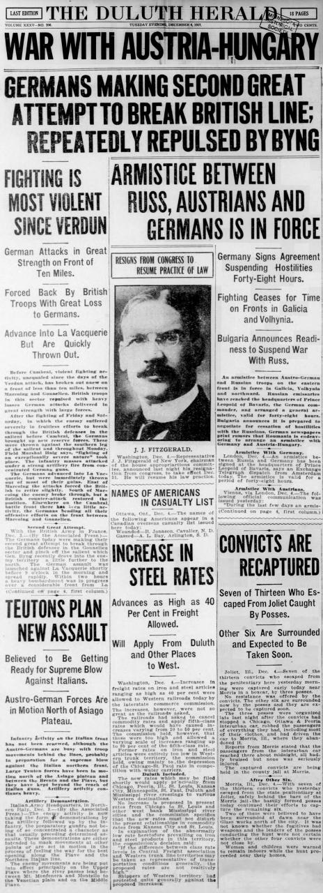 Duluth Herald front page