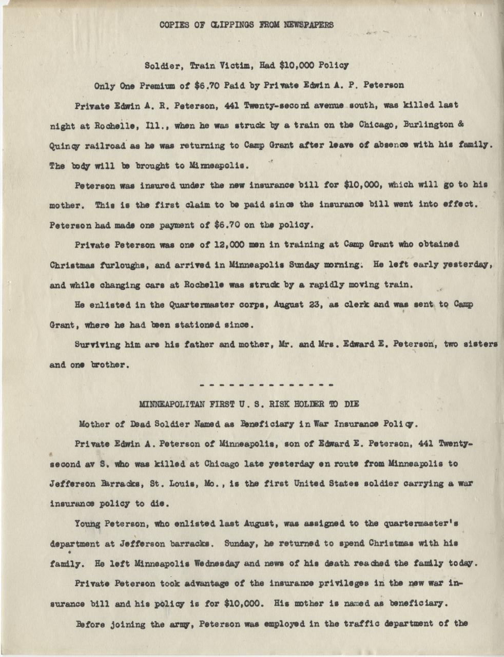 First U S  Risk Holder Dies | Minnesota Historical Society