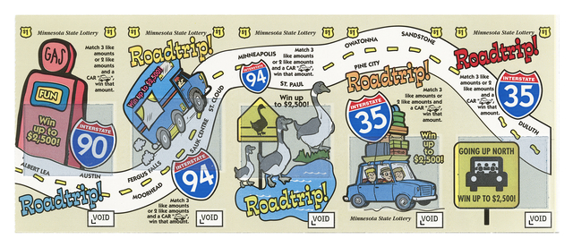 Cartoon of five images with five Roadtrip! words along a winding highway