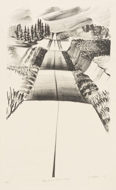 Lithograph print called The New Highway