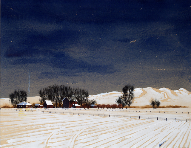 painting of winter farm