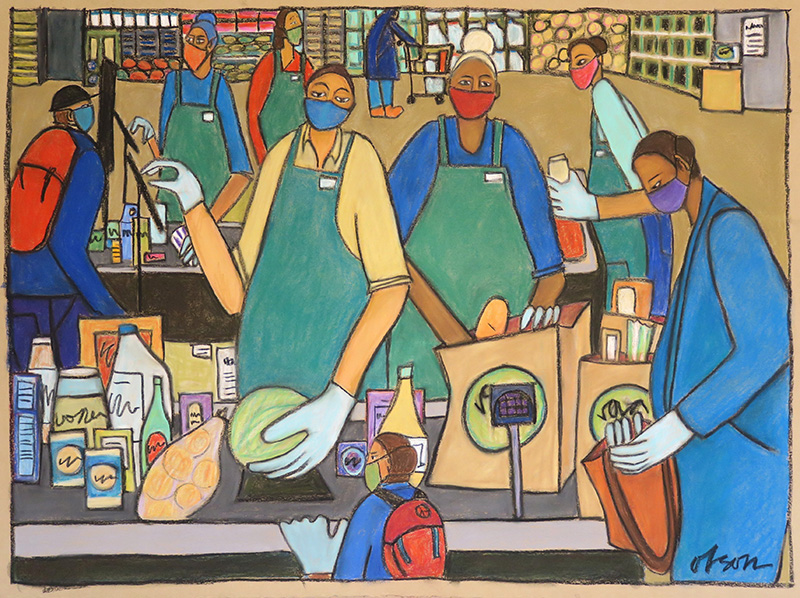 Painting of grocery store workers.