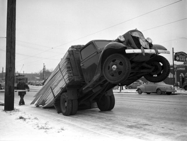 Lumber truck overloaded