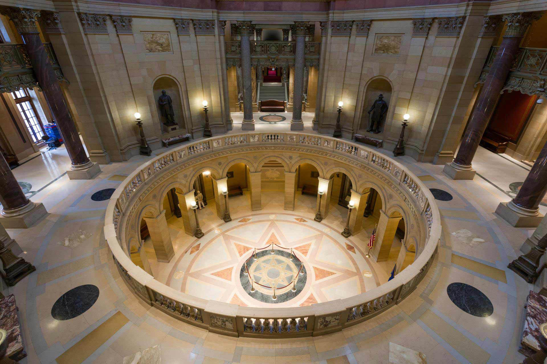Looking down at the rotunda from the second floor