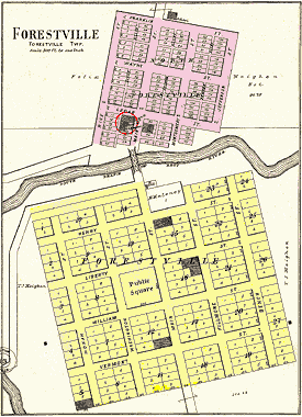 1896 plat map of Forestville.