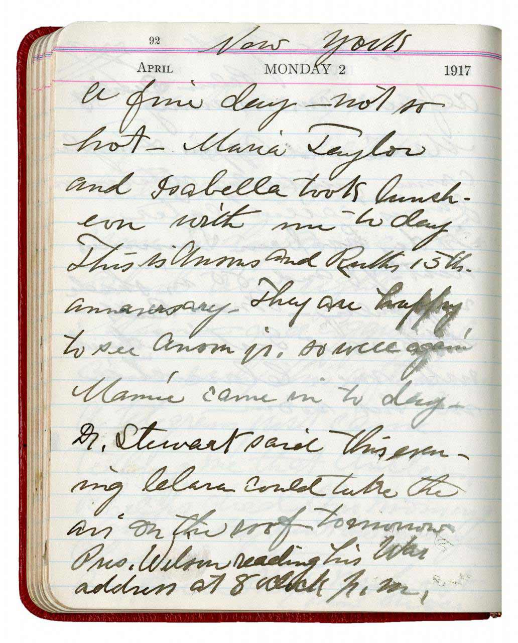 Diary entry by Mary T. Hill - April 2, 1917