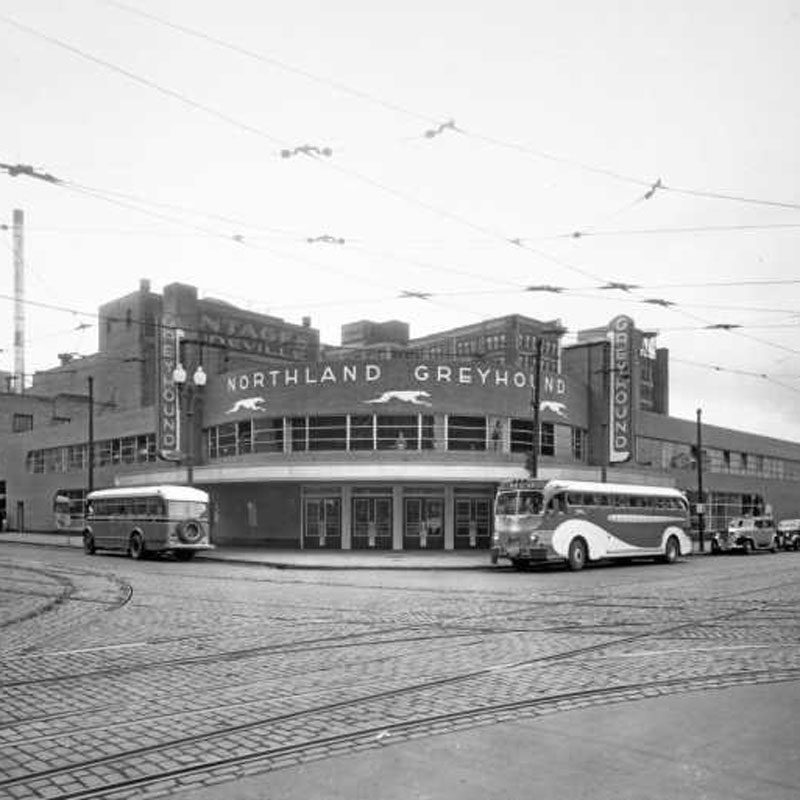 First Avenue building in 1930s as a bus depot