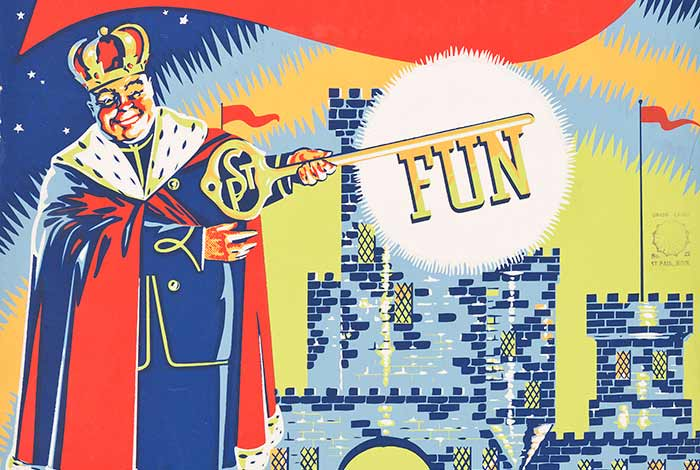Colorful illustration of a king holding a large gold key with the word fun in front of an ice castle