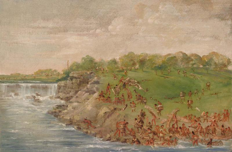 """Ojibwa Portaging Around the Falls of St. Anthony,"" oil on canvas by George Catlin, 1835–1836. Courtesy of the Smithsonian American Art Museum."