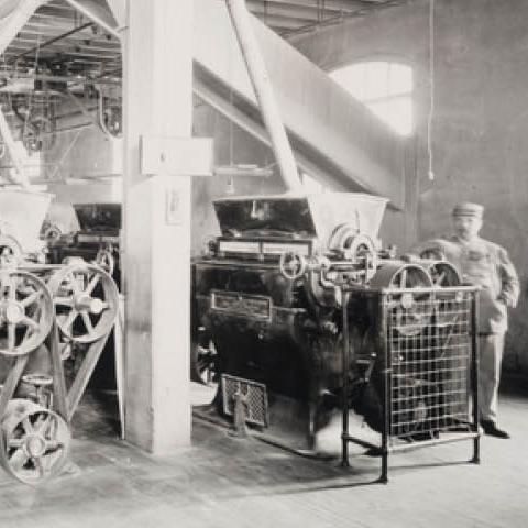 Vintage photo of the inside of a mill.