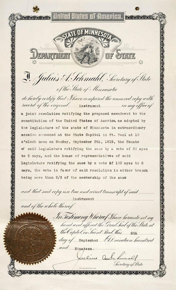 19th Amendment Ratification.