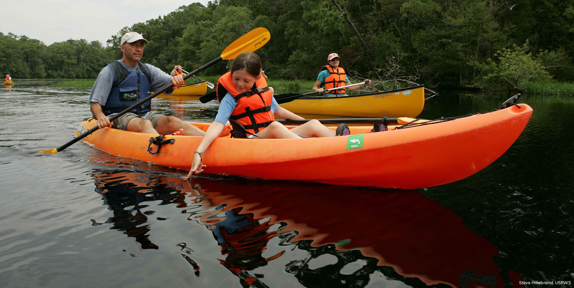 A small group of people kayaking.