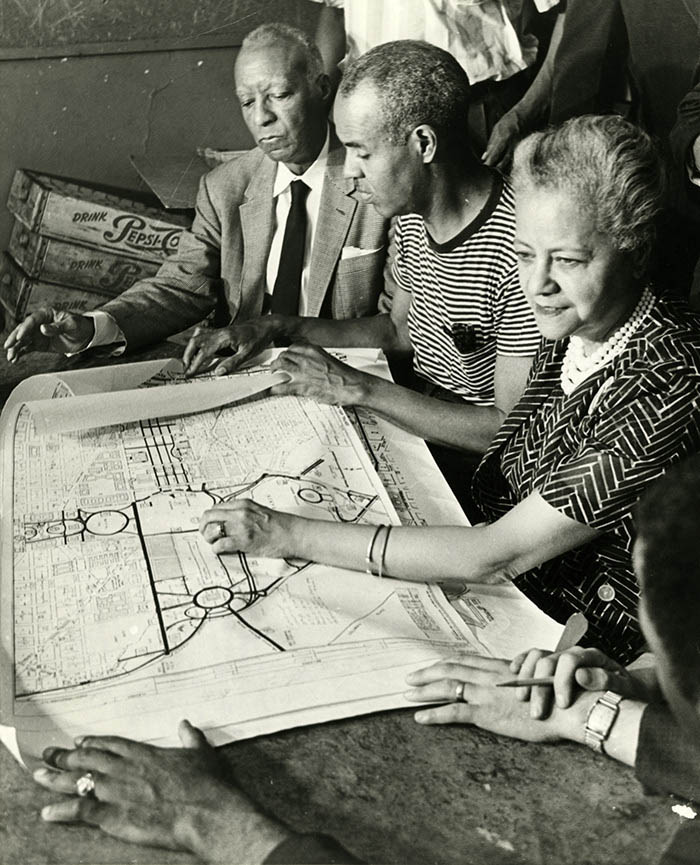 A Philip Randolph, Roy Wilkins, and Anna Arnold Hedgeman planning the 1963 March on Washington, about 1963.