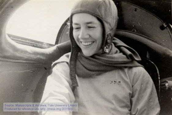 Anne Morrow Lindbergh sitting in airplane