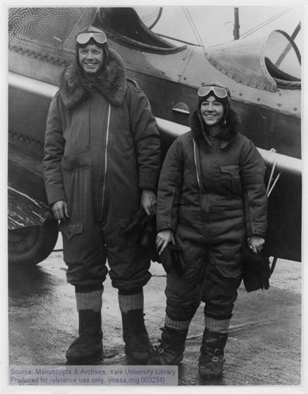 Charles A. Lindbergh and Anne Morrow Lindbergh in flight gear.
