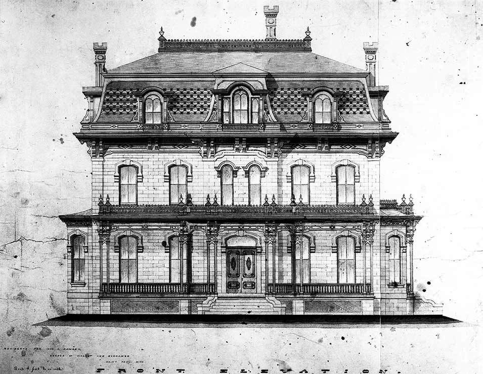 Architectural sketch of the Alexander Ramsey House