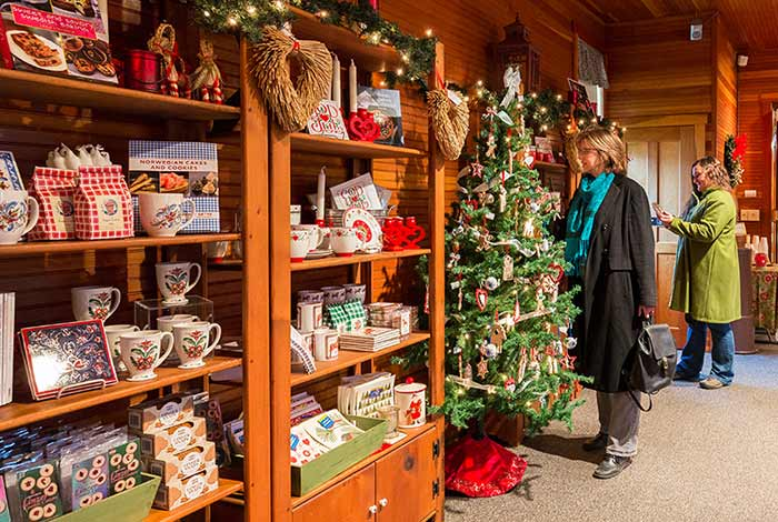 Two women looking at items on shelves in gift shop