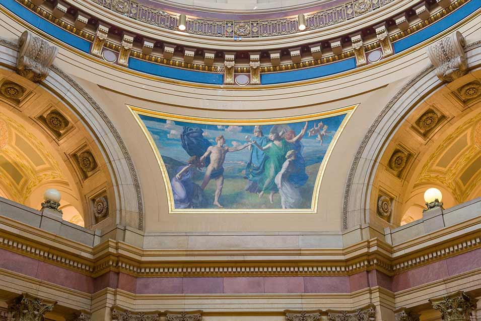 A mural at the base of the dome