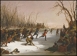 """Ballplay of the Dakota on the St. Peters River in Winter,"" 1848. Oil on canvas painting by Seth Eastman. Source: Amon Carter Museum."