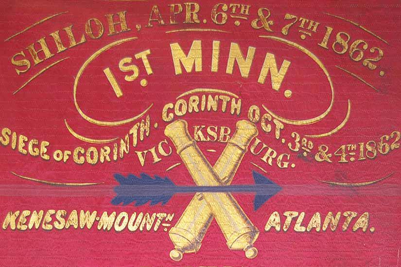 A closeup of the 1st Minnesota battle flag
