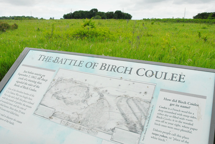 Placard displaying information about the battle of Birch Coulee.