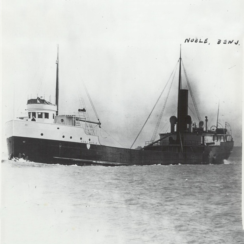 Steamer at sea, facing left
