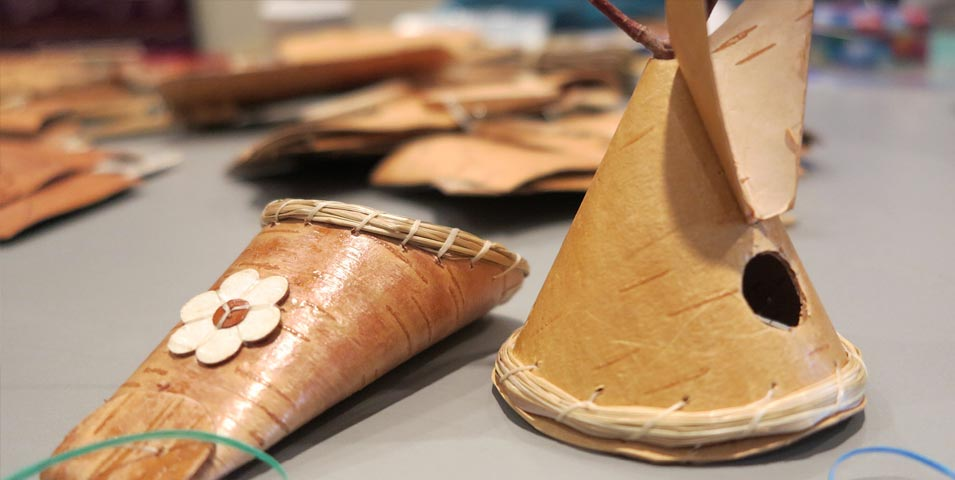 Birch bark ornament workshop.