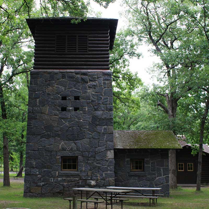 Stone watchtower.