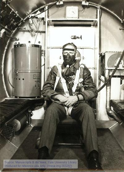Charles A. Lindbergh in an altitude chamber.