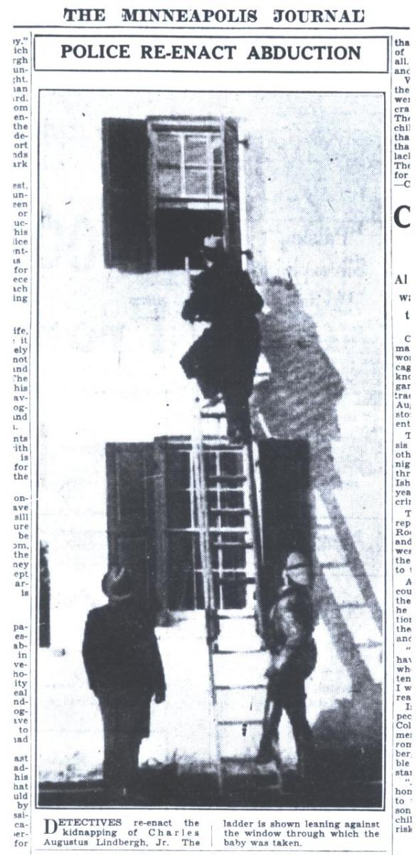 """Minneapolis Journal March 3, 1932 """"Police Re-Enact Abduction."""""""