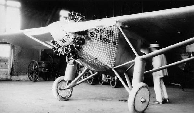 The Spirit of St. Louis in hanger.