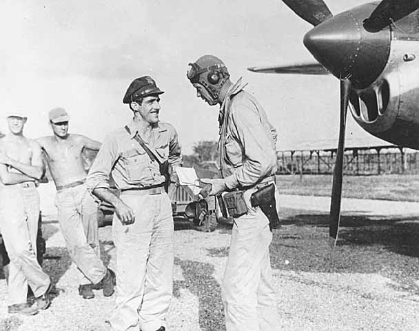 Charles Lindbergh with Tommy McGuire, South Pacific, Summer 1944.