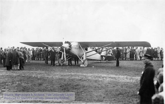 """Charles A. Lindbergh in the """"Spirit of St. Louis"""" just before takeoff from Roosevelt Field, NY. May 20, 1927."""