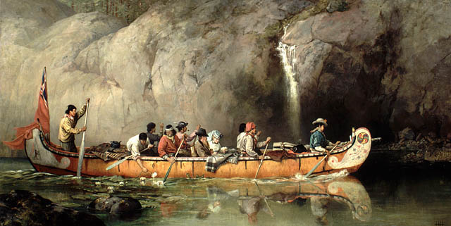 Canoe manned by voyageurs passing a waterfall, Frances Ann Hopkins, 1869.