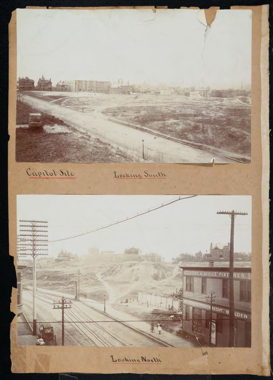 A scrapbook page with an image of the capitol site under construction, the top image looking south and the bottom image looking north