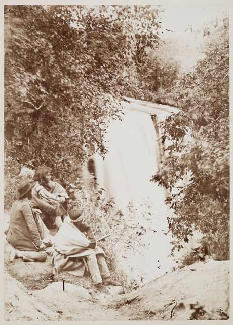 Dakota people at Mnihaha (Minnehaha Falls), 1857–1863. Source: MNHS Collections.