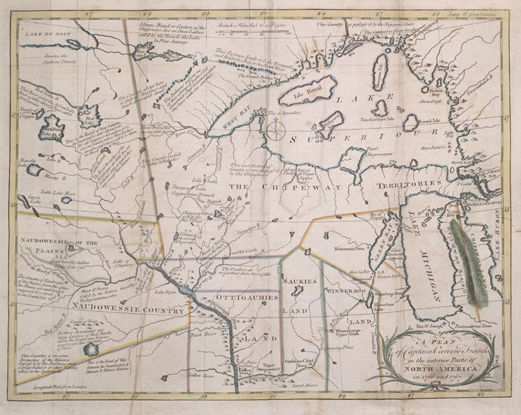 Dakota and Ojibwe Lands, ca. 1768. Jonathan Carver, from Travels through the Interior Parts of North-America in the Years 1766, 1767, and 1768, 1778.
