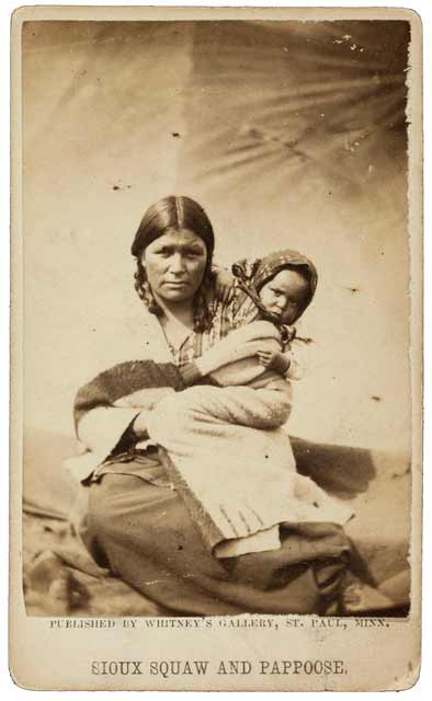 A Dakota woman and her child in the concentration camp, 1862 or 1863. Source: MNHS Collections.