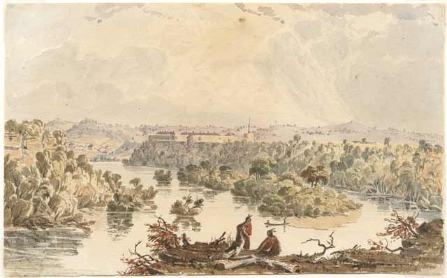 Distant view of Fort Snelling at Bdote, painted by Seth Eastman, 1847–1848. Source: MNHS Collections.