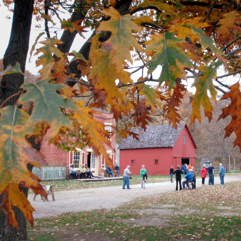 A group explores historic Forestville in the fall.