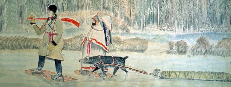 Painting of fur traders walking.