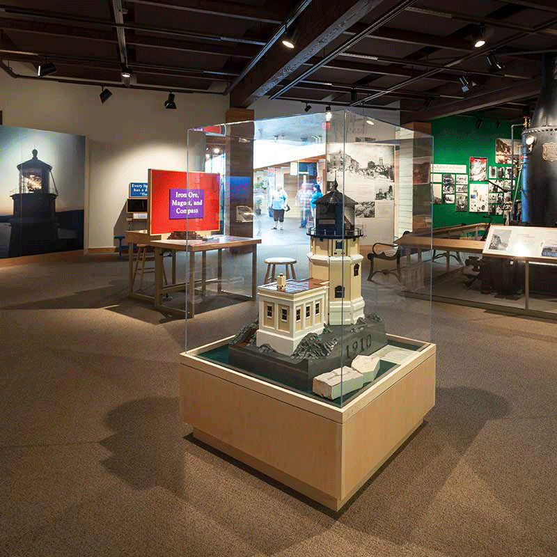 Exhibits and display cases featuring information on the lighthouse