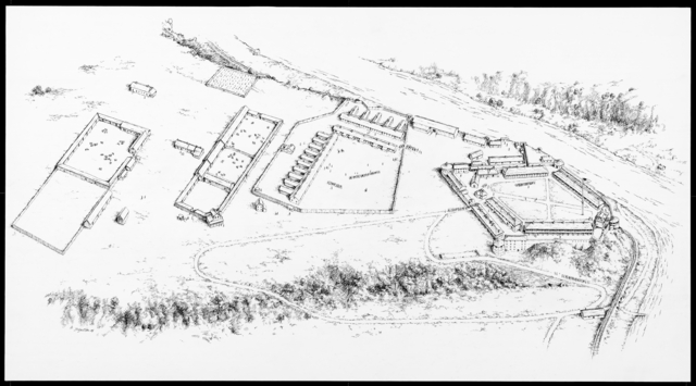 Fort Snelling's Extent, 1861-1865. Drawn by David Geister, 2004. Source: MNHS Collections.