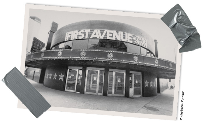 Exterior entrance of First Avenue, 7th Street Entry. Black and white photo by Daniel Corrigan.